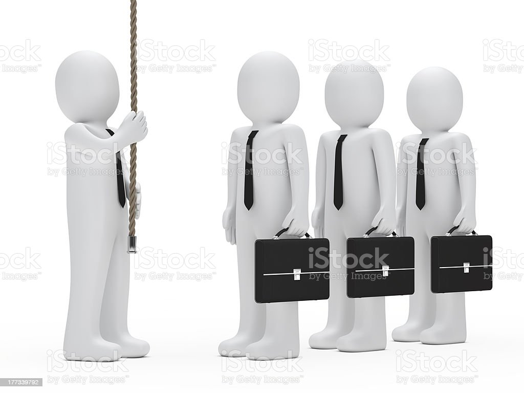 businessman hold a rope royalty-free stock photo
