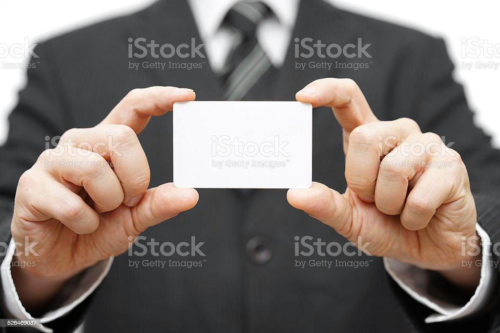 businessman hold business card , company identity stock photo