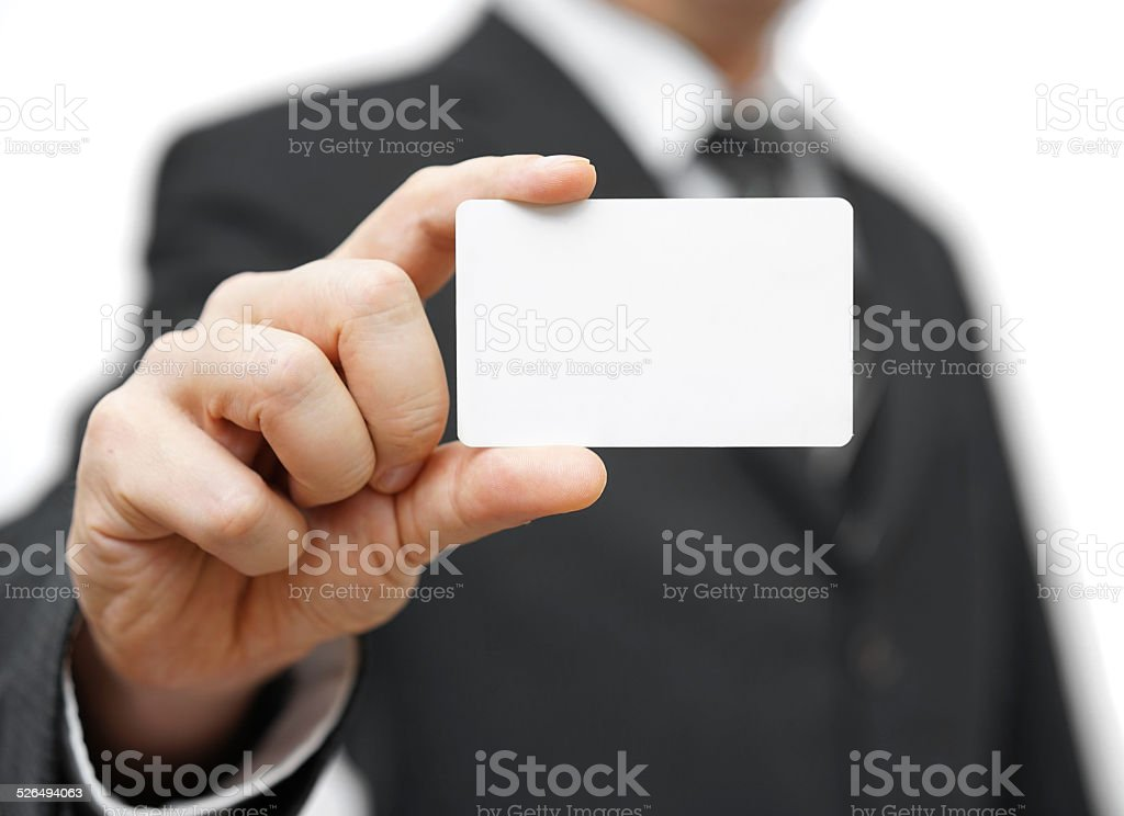 businessman hold business card , contact us concept stock photo