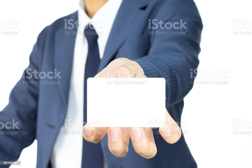 Businessman Hold Business Card or White Card at Low Level Isolated on White Background stock photo