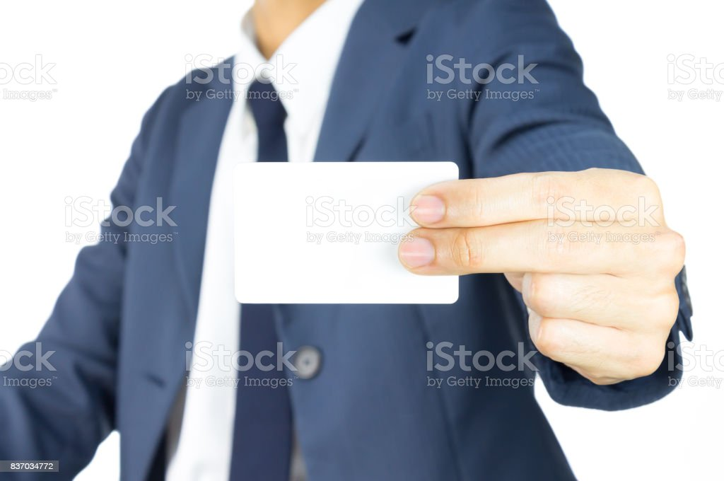 Businessman Hold Business Card or White Card by Two Finger at Side Isolated on White Background stock photo