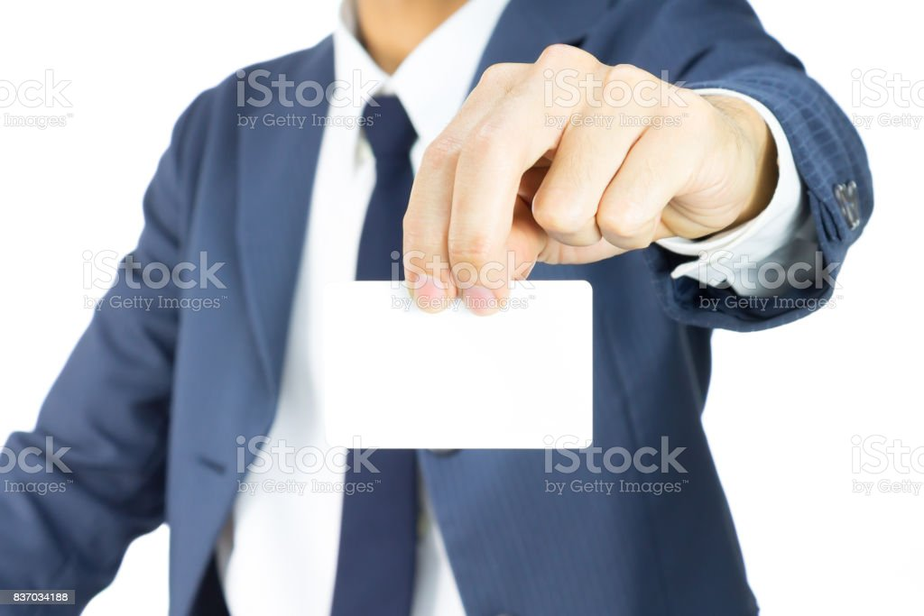 Businessman Hold Business Card or White Card by Two Finger Isolated on White Background stock photo