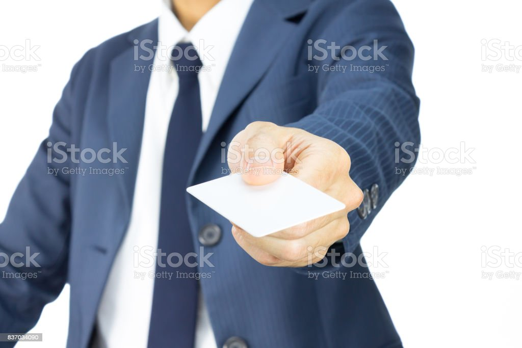 Businessman Hold Business Card or White Card in 45 Degree View Isolated on White Background stock photo
