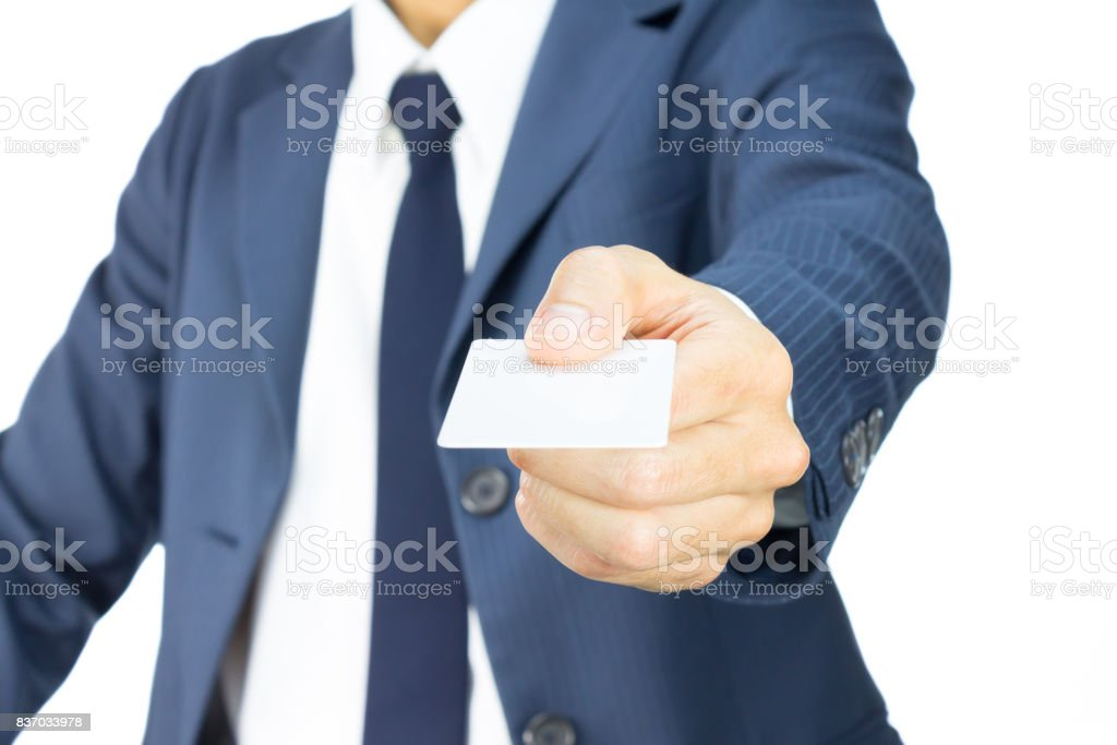 Businessman Hold Business Card or White Card in Straight View Isolated on White Background stock photo