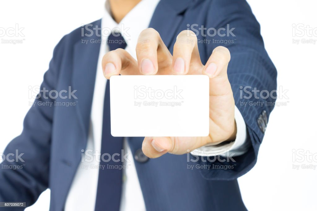 Businessman Hold Business Card or White Card Isolated on White Background stock photo