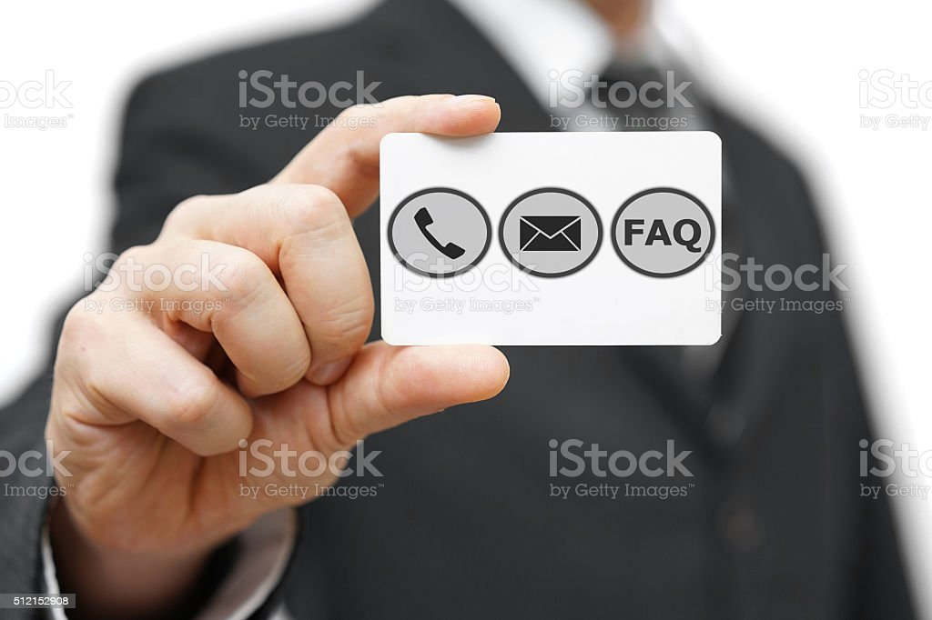 businessman hold business card with phone,email and FAQ icon stock photo