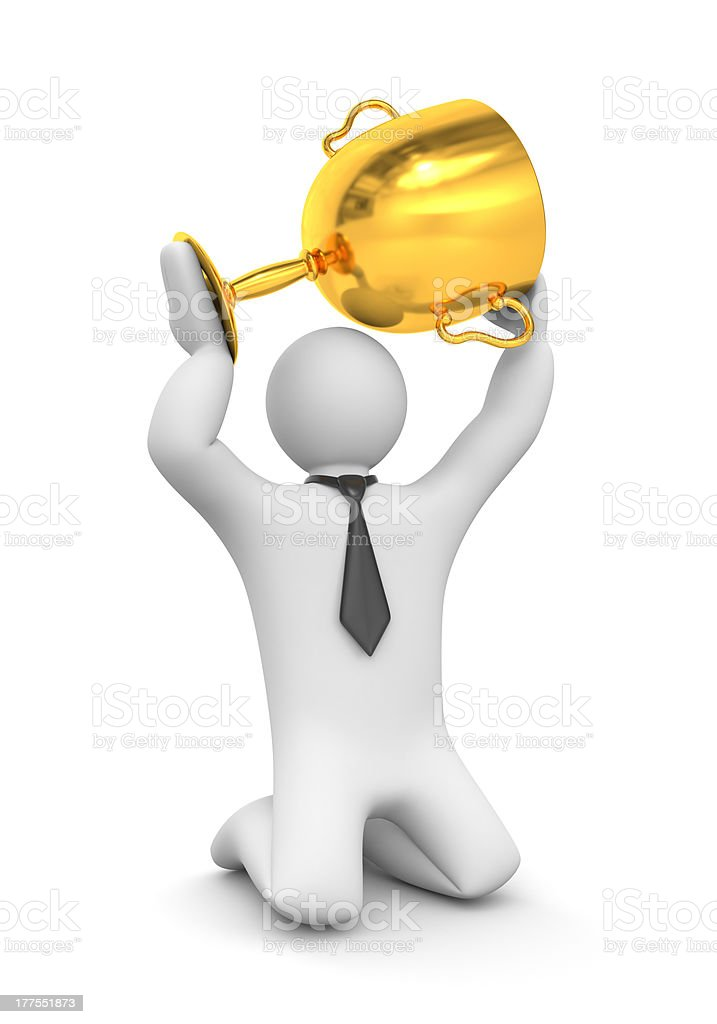 Businessman hold gold cup royalty-free stock photo