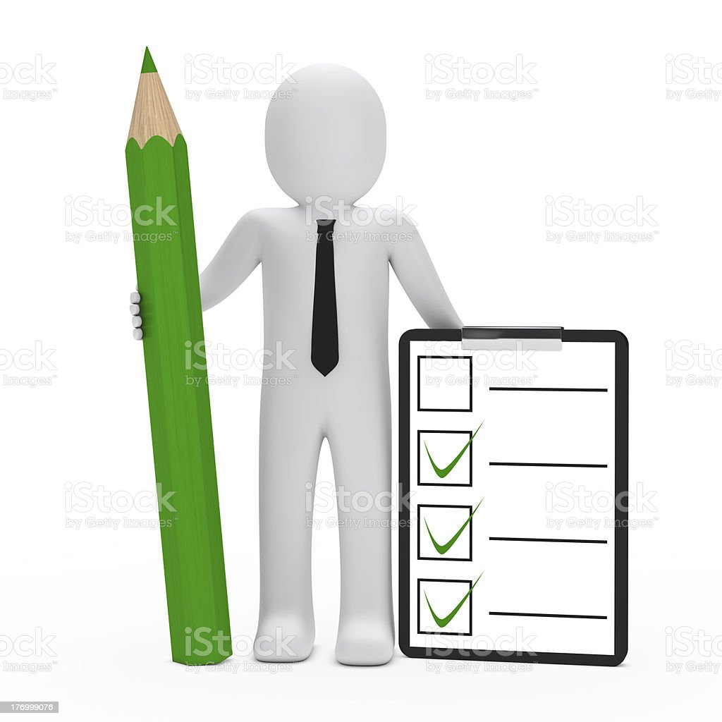 businessman hold pencil check stock photo