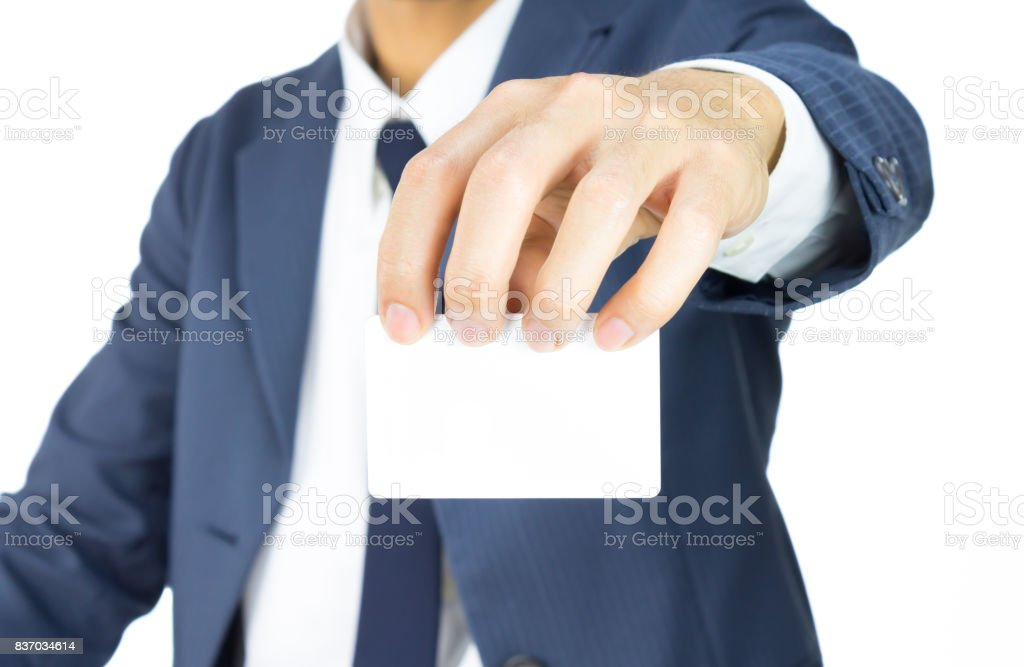 Businessman Hold Top Business Card or White Card Isolated on White Background stock photo