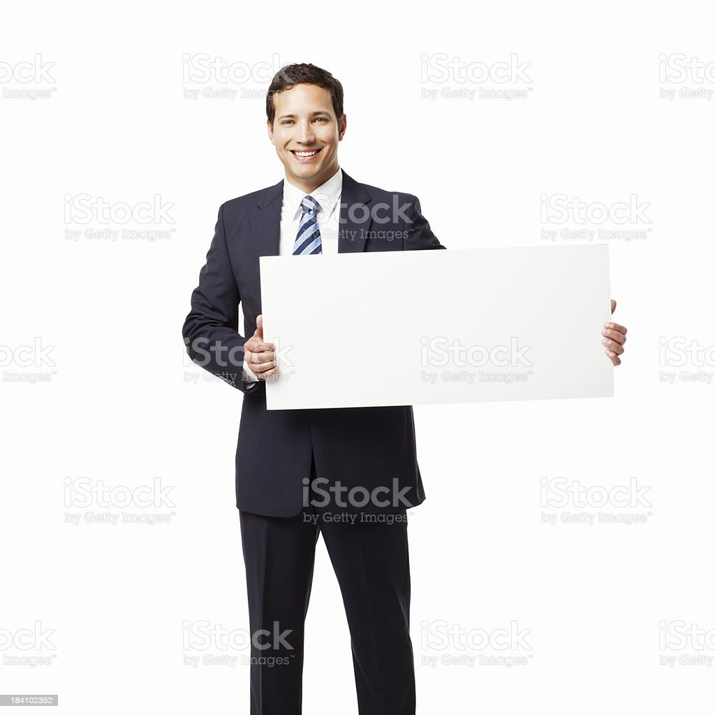 Businessman Holding a Blank Sign - Isolated royalty-free stock photo