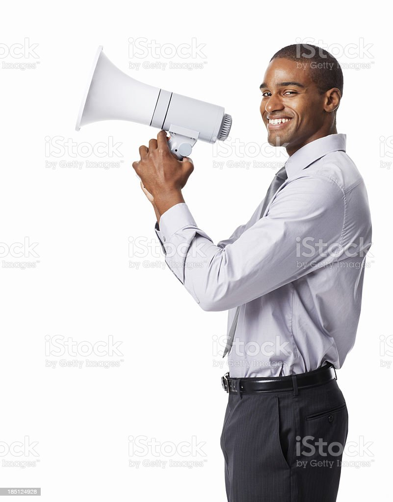 Businessman Holding a Bullhorn - Isolated stock photo
