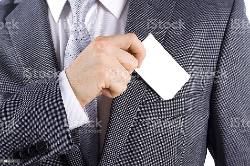 Businessman Holding a Card stock photo