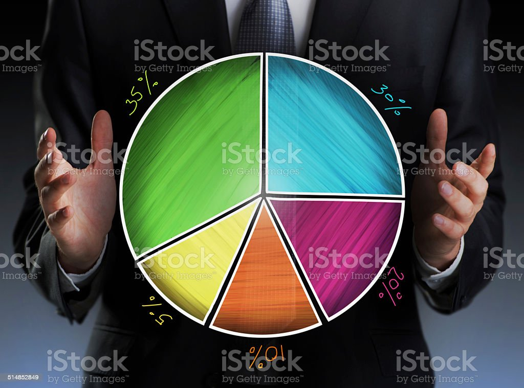 Businessman holding a colorful pie chart stock photo