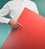 Businessman holding a panel / Message concept (Click for more)