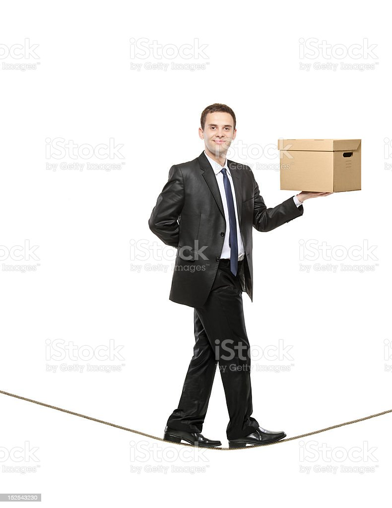 Businessman holding a paper box royalty-free stock photo