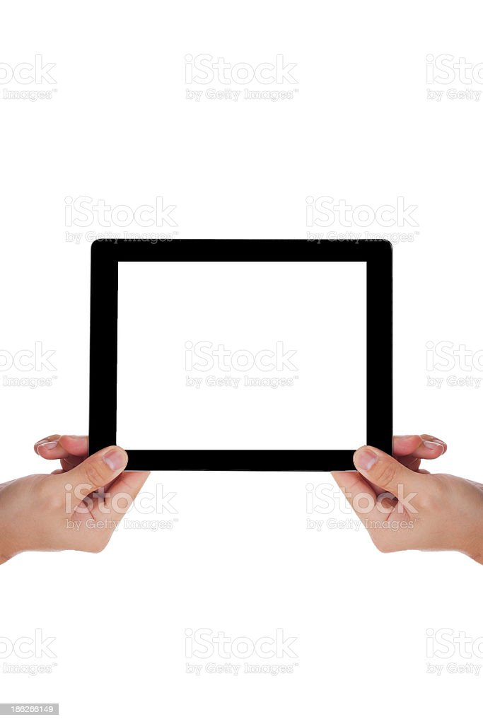 Businessman holding a tablet. royalty-free stock photo