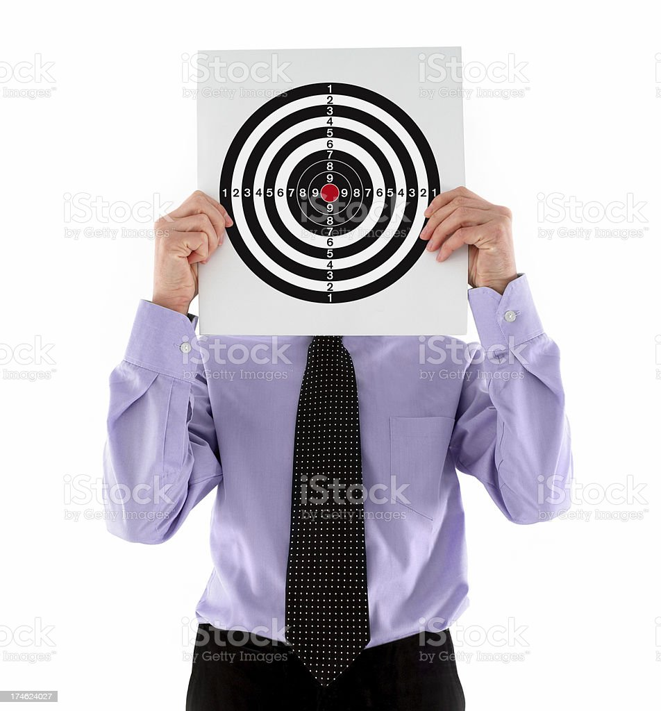Businessman Holding a Target royalty-free stock photo