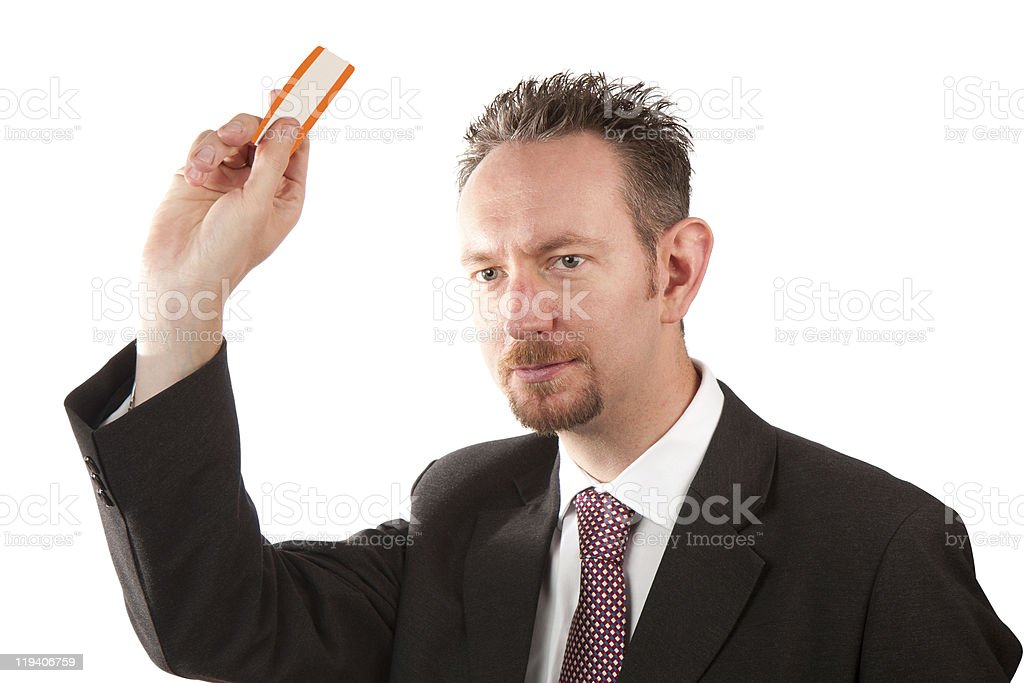 Businessman Holding a Ticket stock photo