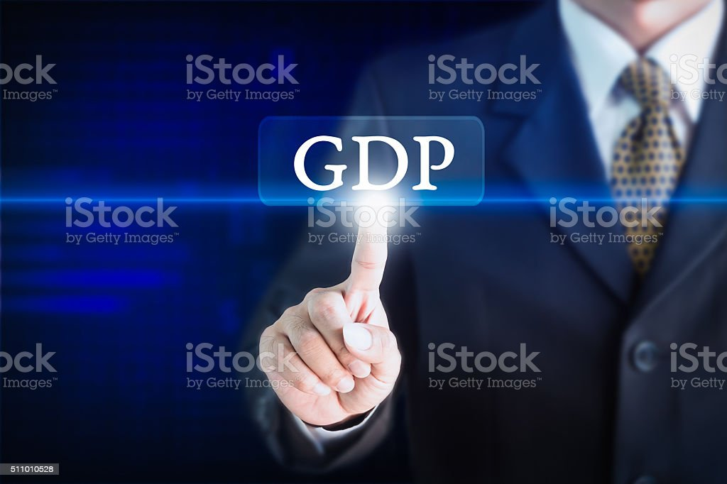 Businessman holding a white sign with the message GDP. stock photo