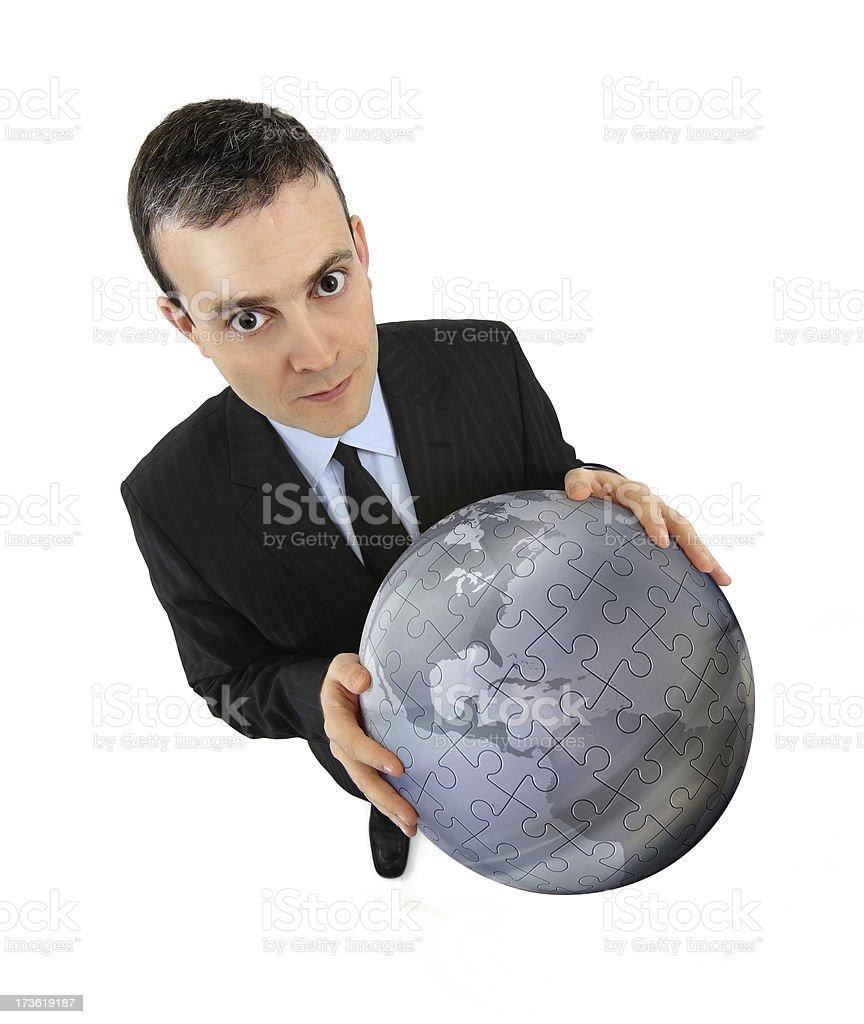 Businessman Holding a World royalty-free stock photo