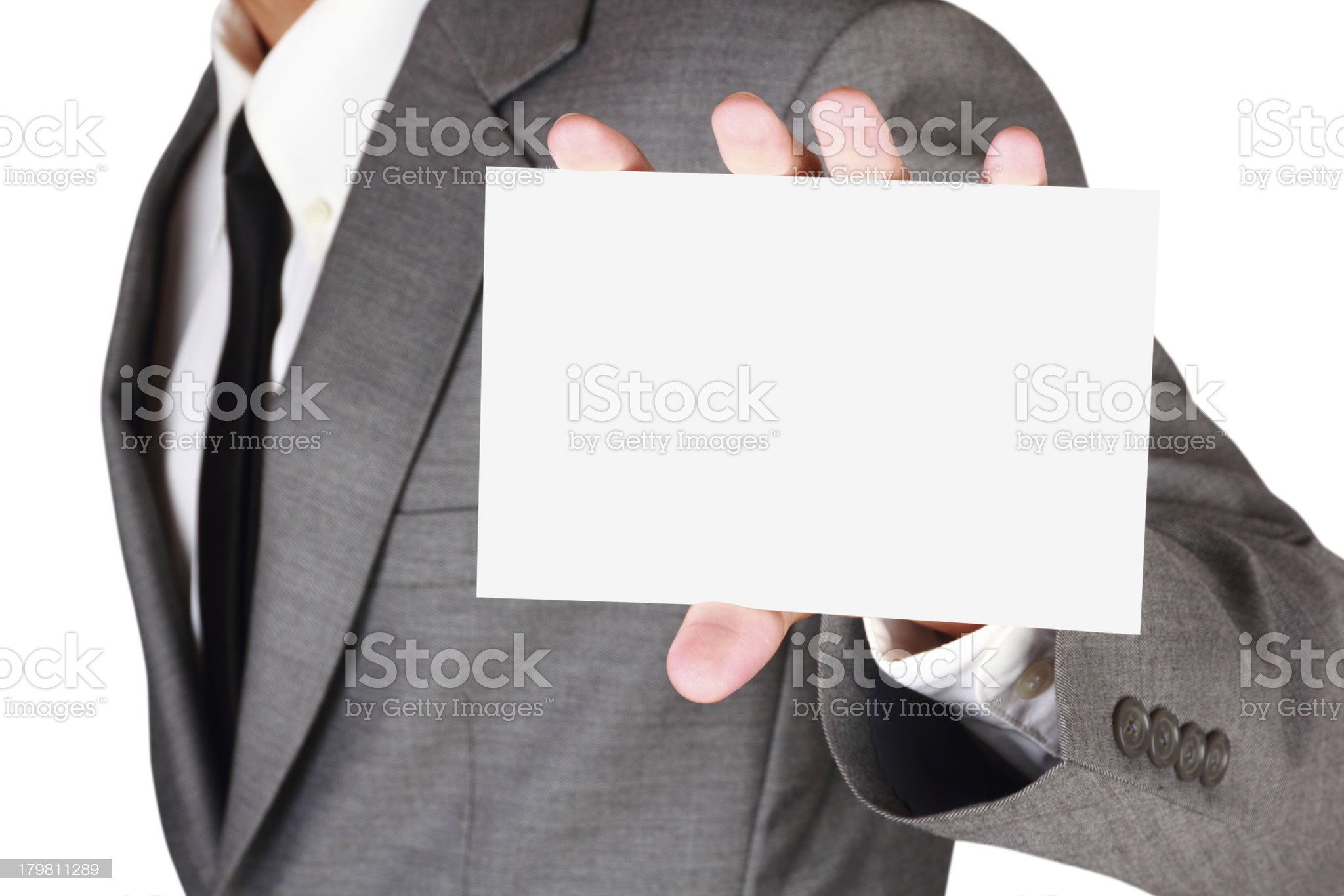 Businessman holding blank paper royalty-free stock photo