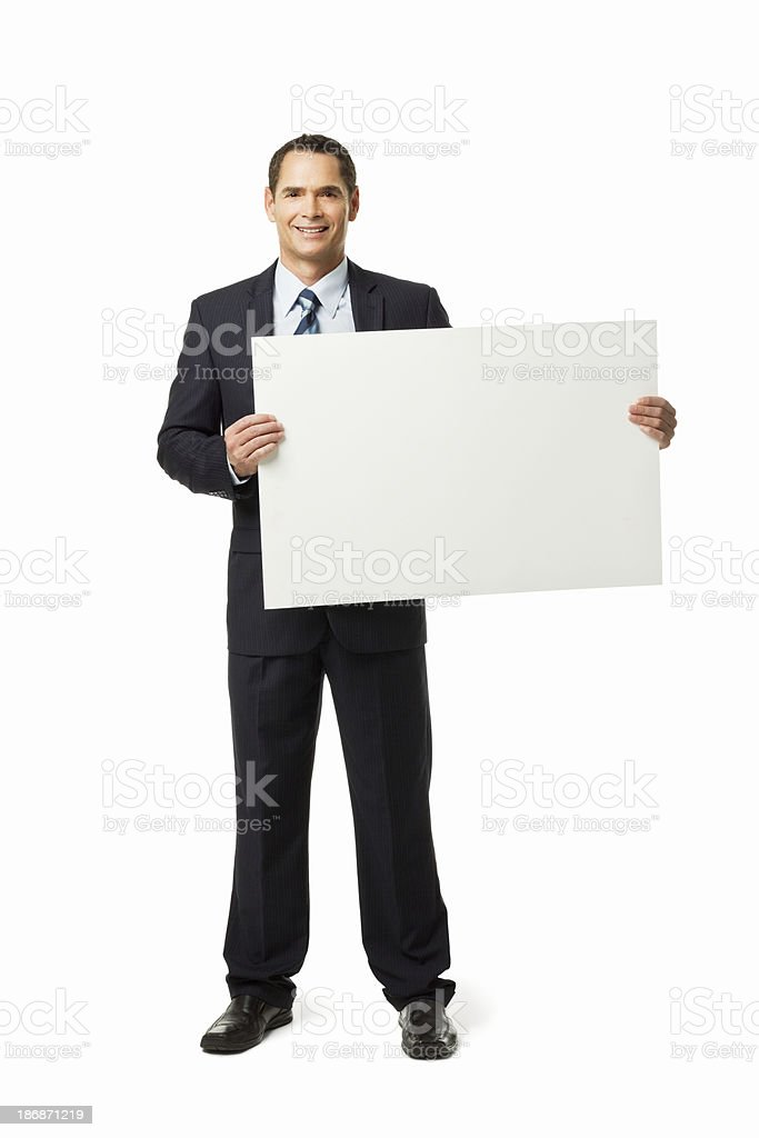 Businessman Holding Blank Sign - Isolated stock photo