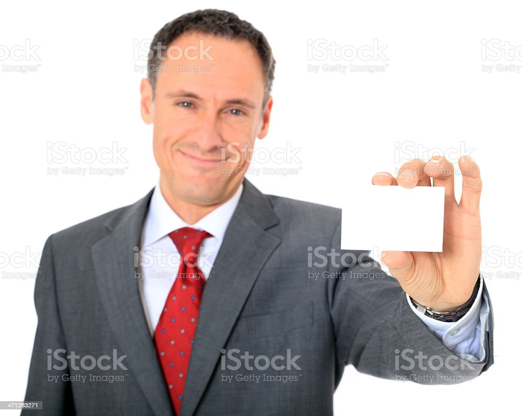 Businessman holding business card royalty-free stock photo