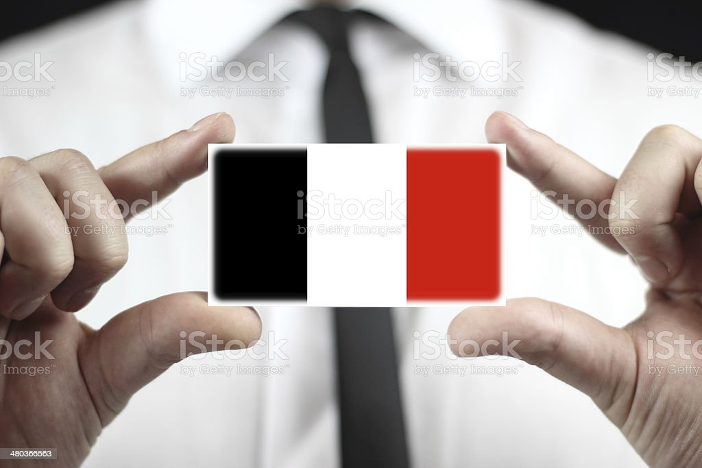 Businessman holding business card with Roman Republic Flag in 1798 stock photo