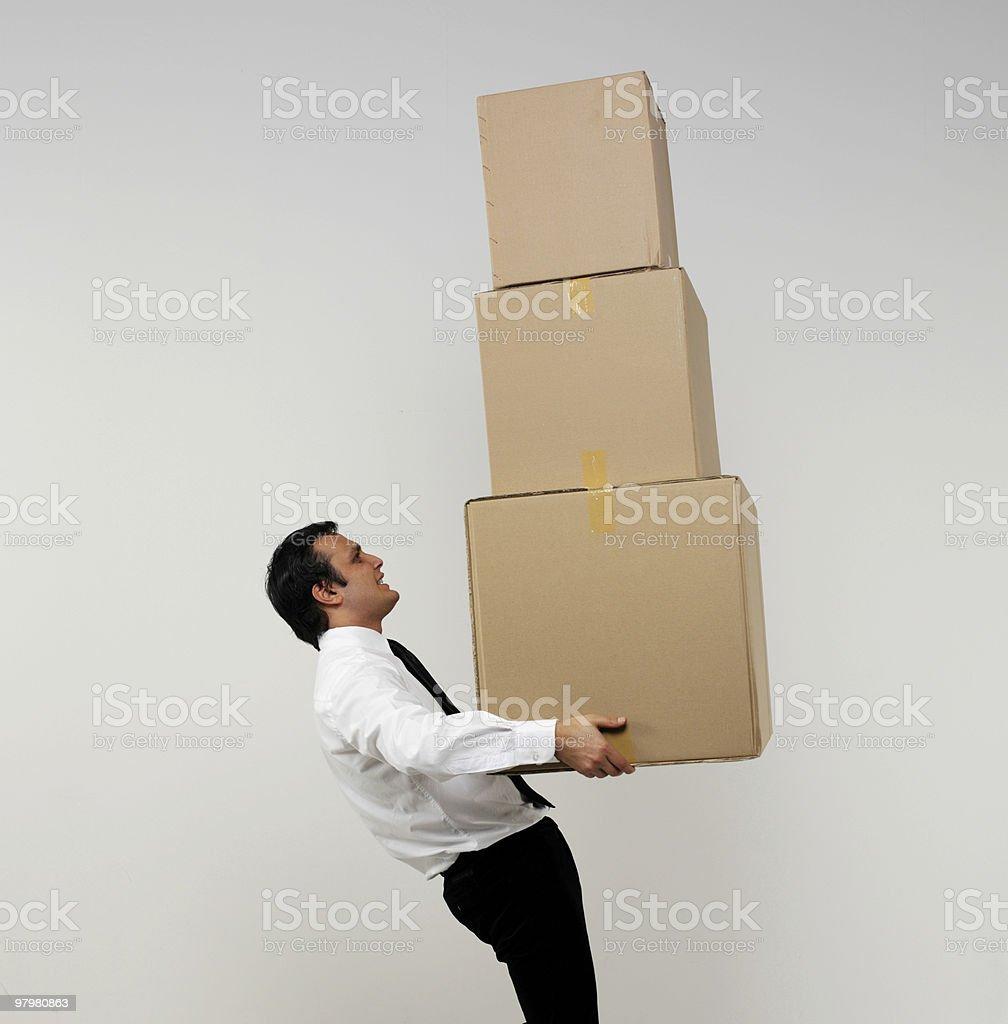 Businessman Holding Cardboard Box royalty-free stock photo