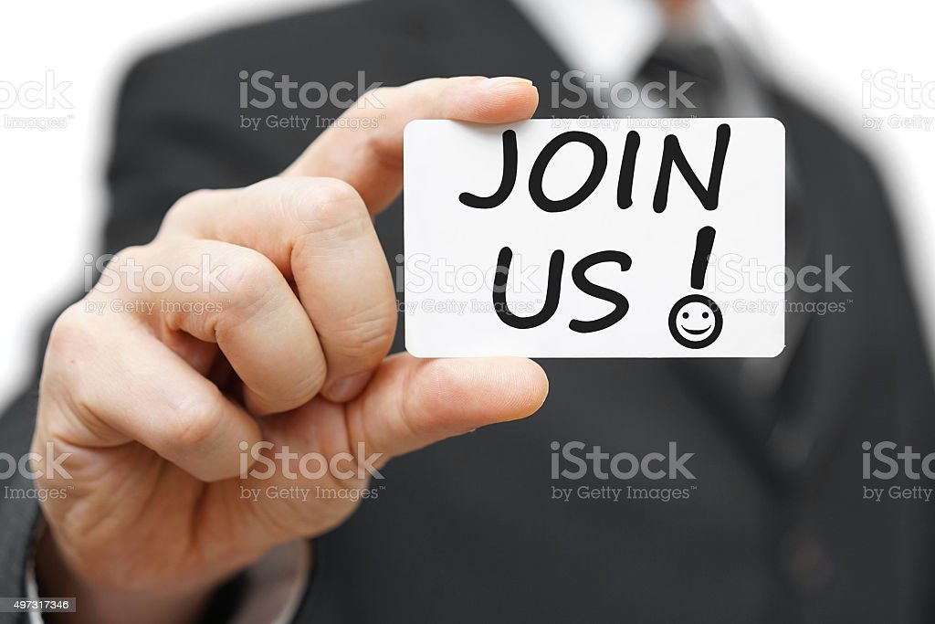 Businessman holding contact card with the Join Us and smile stock photo