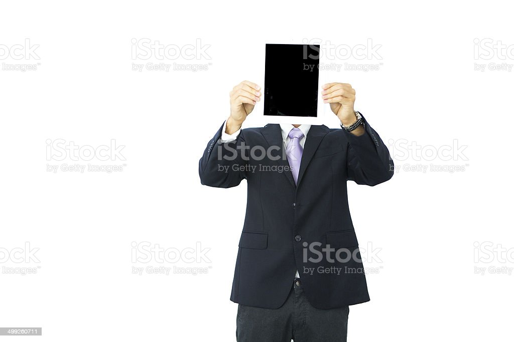 Businessman holding digital tablet instead of his head royalty-free stock photo