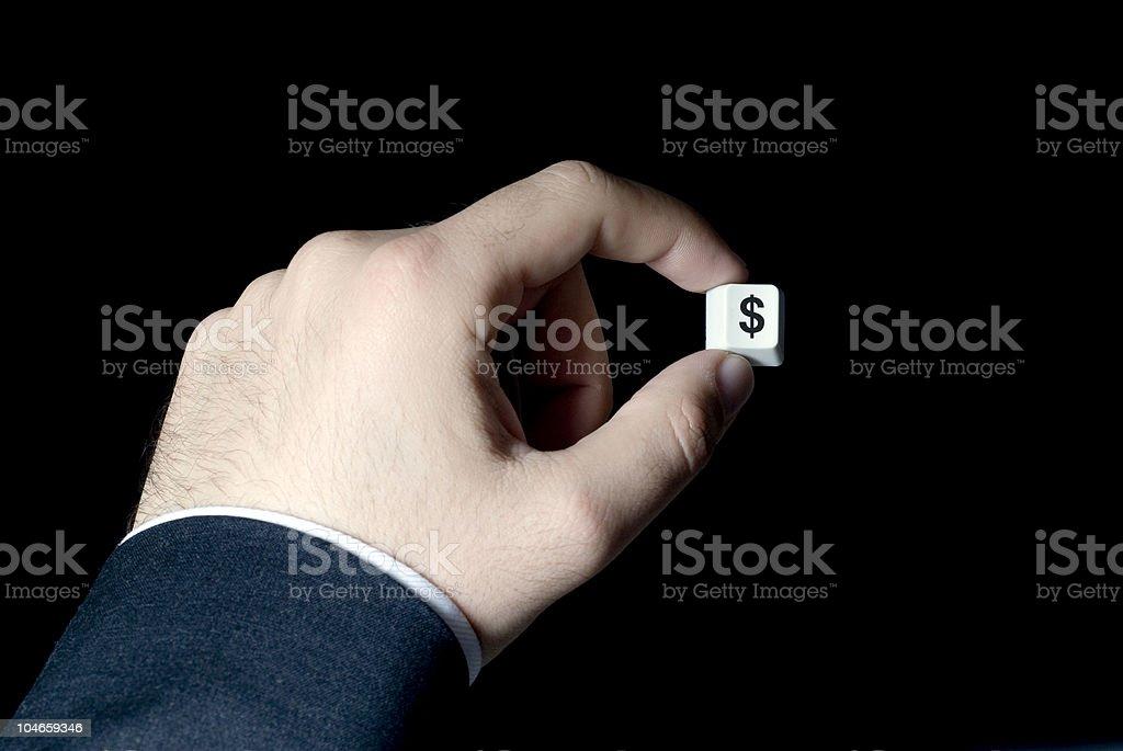 Businessman holding dollar button stock photo