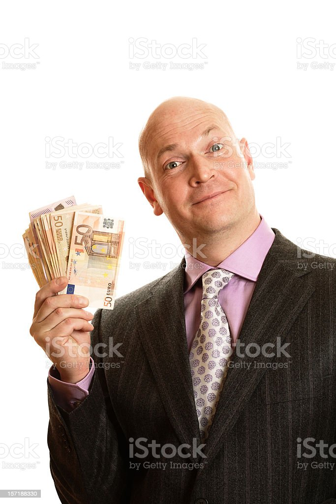Businessman holding Euro banknotes royalty-free stock photo