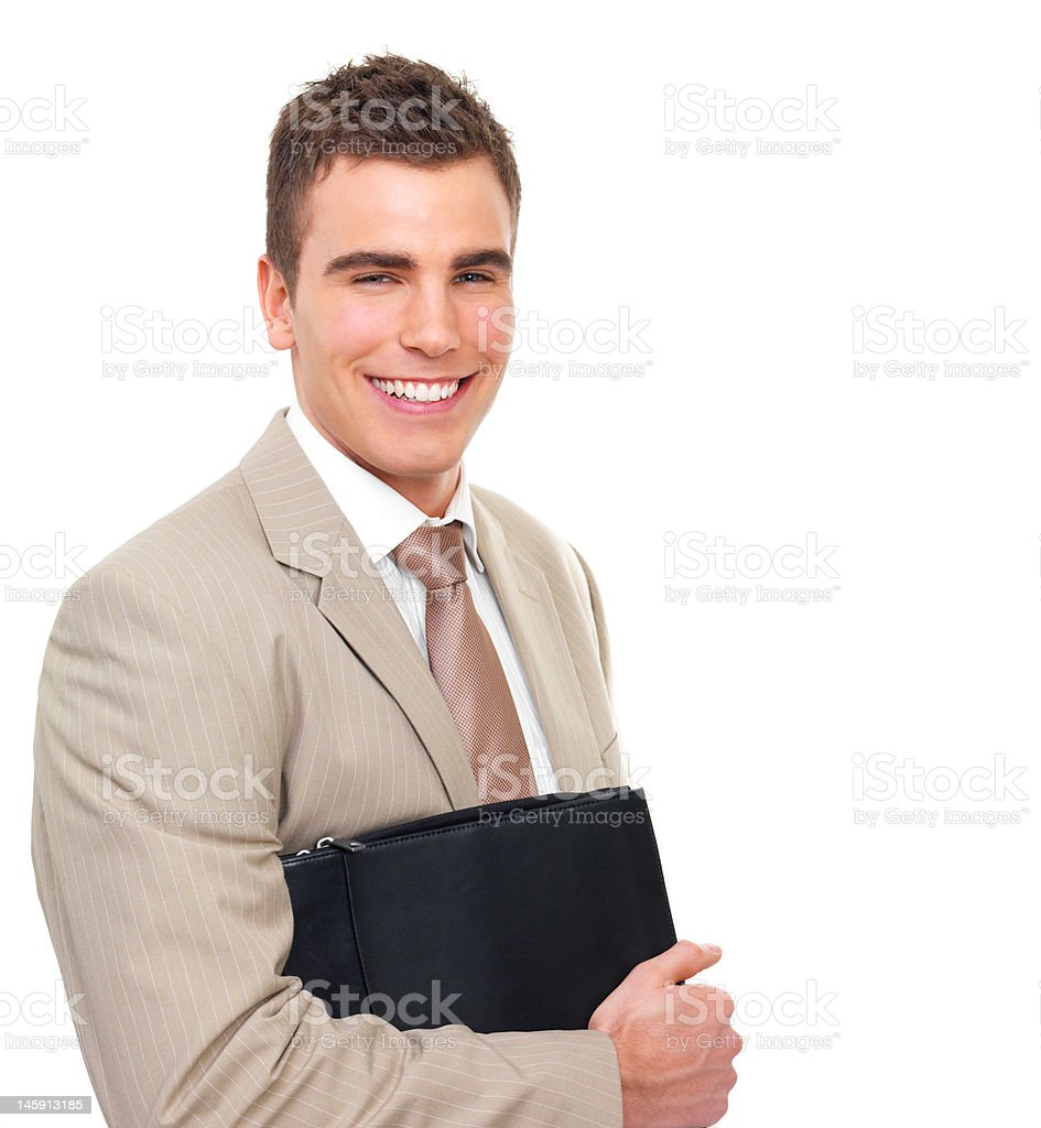 Businessman holding folder with paper work royalty-free stock photo