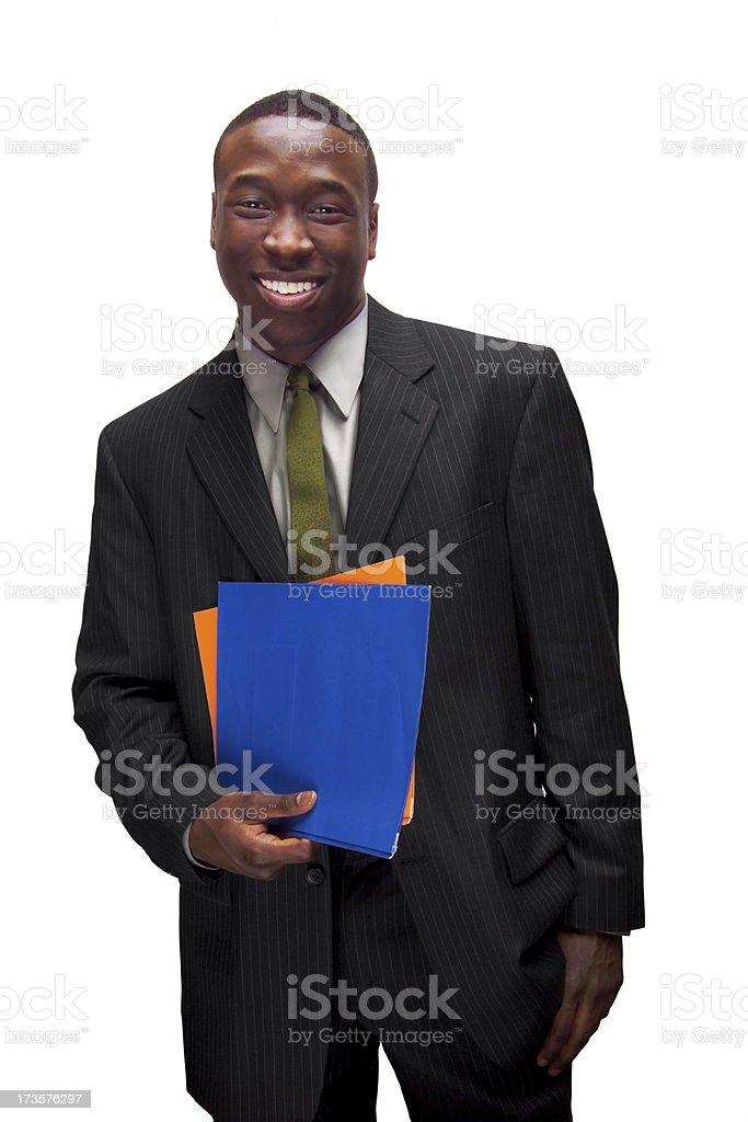 businessman holding folders royalty-free stock photo