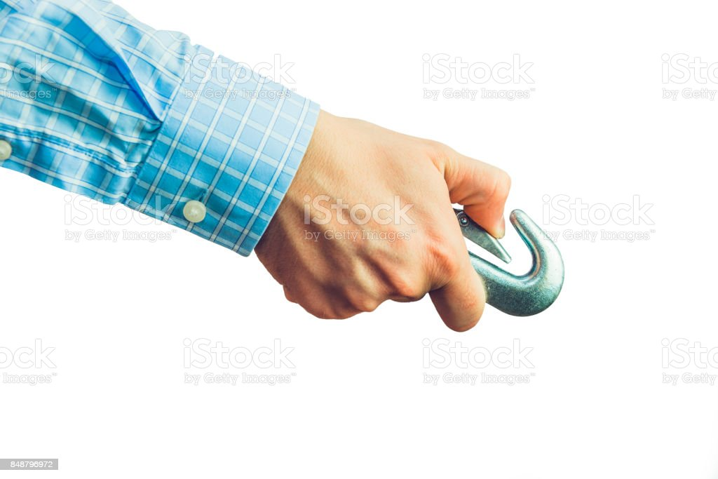 Businessman holding harness in hand. stock photo