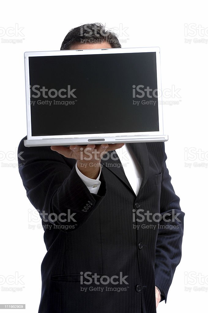 Businessman Holding Laptop Computer in front of Face royalty-free stock photo