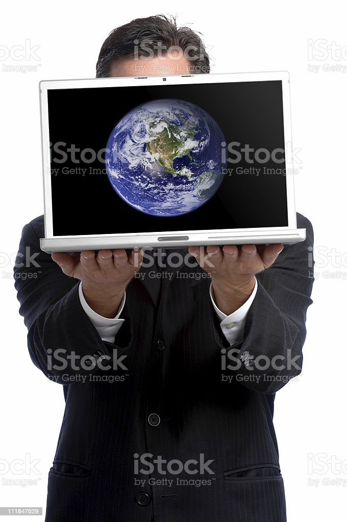 Businessman Holding Laptop Computer with Earth Image on White royalty-free stock photo
