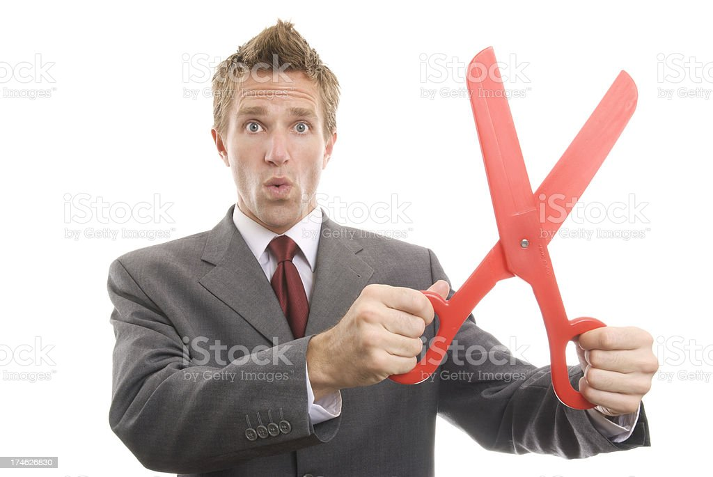 Businessman Holding Large Red Scissors White Background royalty-free stock photo