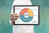 Businessman holding pad with success chart (Click for more)