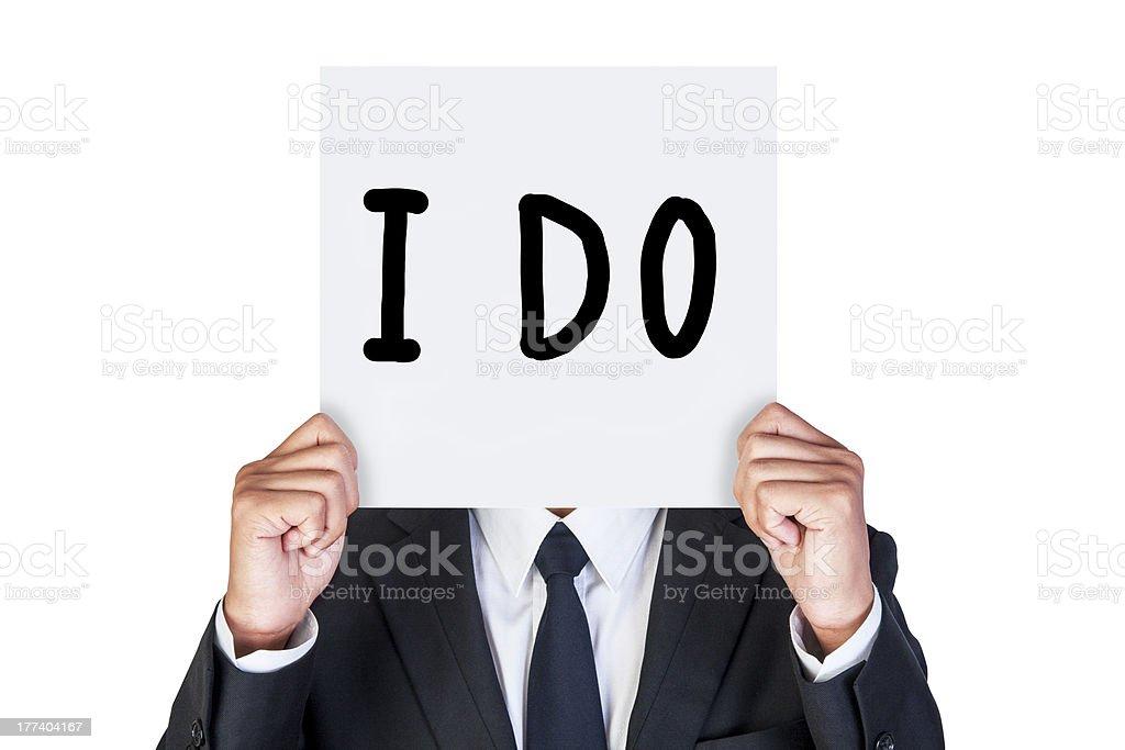 Businessman holding paper stock photo