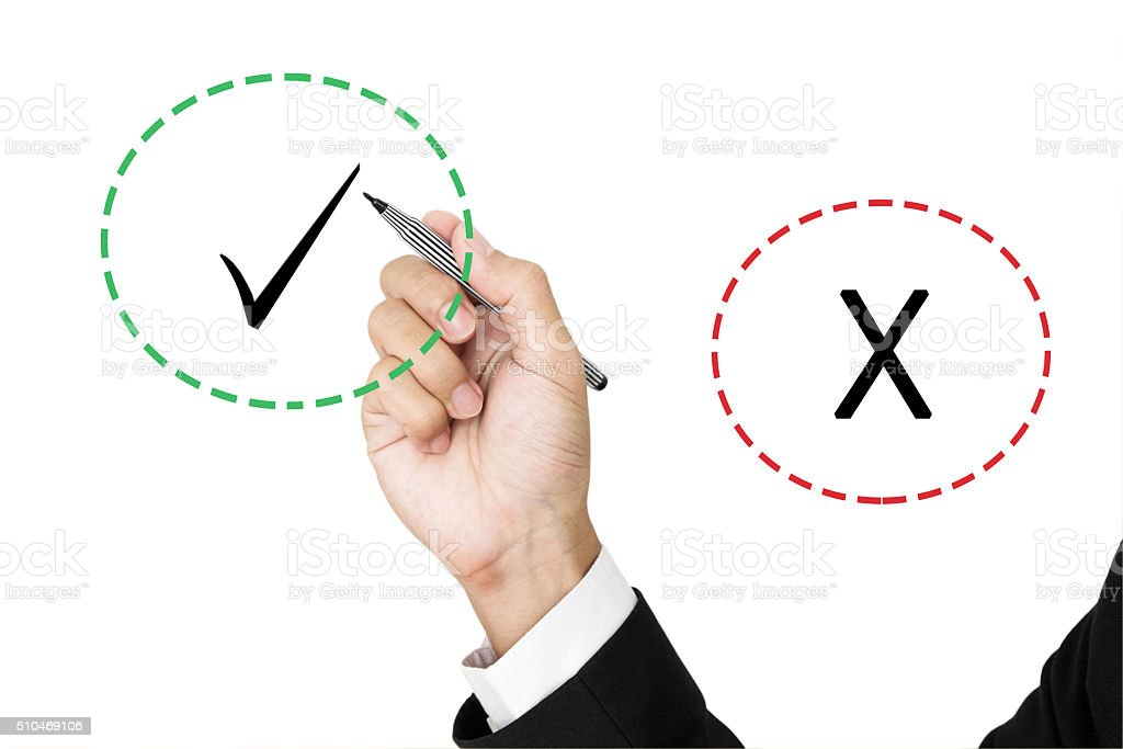 Businessman holding pen choosen between correct and incorrect marks, isolated stock photo