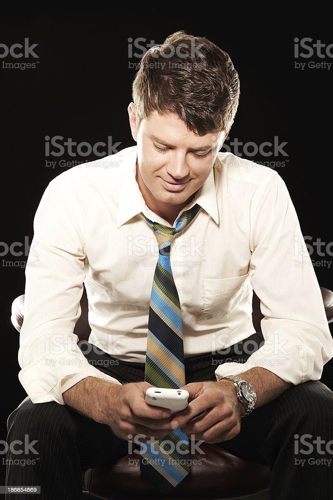 Businessman Holding Phone stock photo