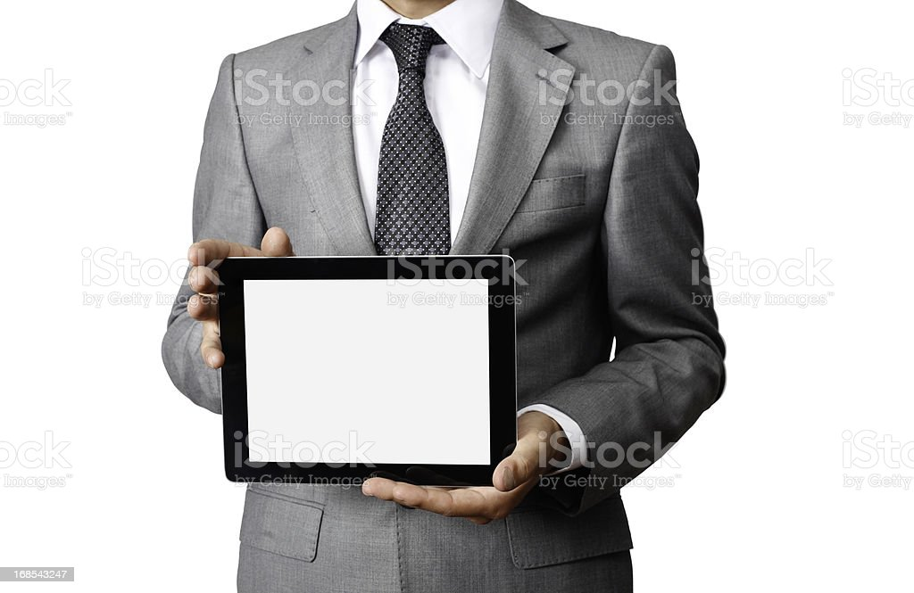 Businessman Holding Tablet PC royalty-free stock photo
