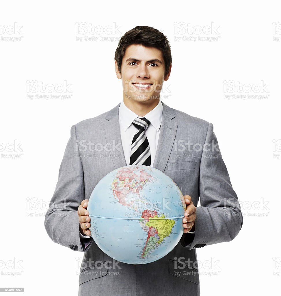 Businessman Holding Up a Globe - Isolated stock photo