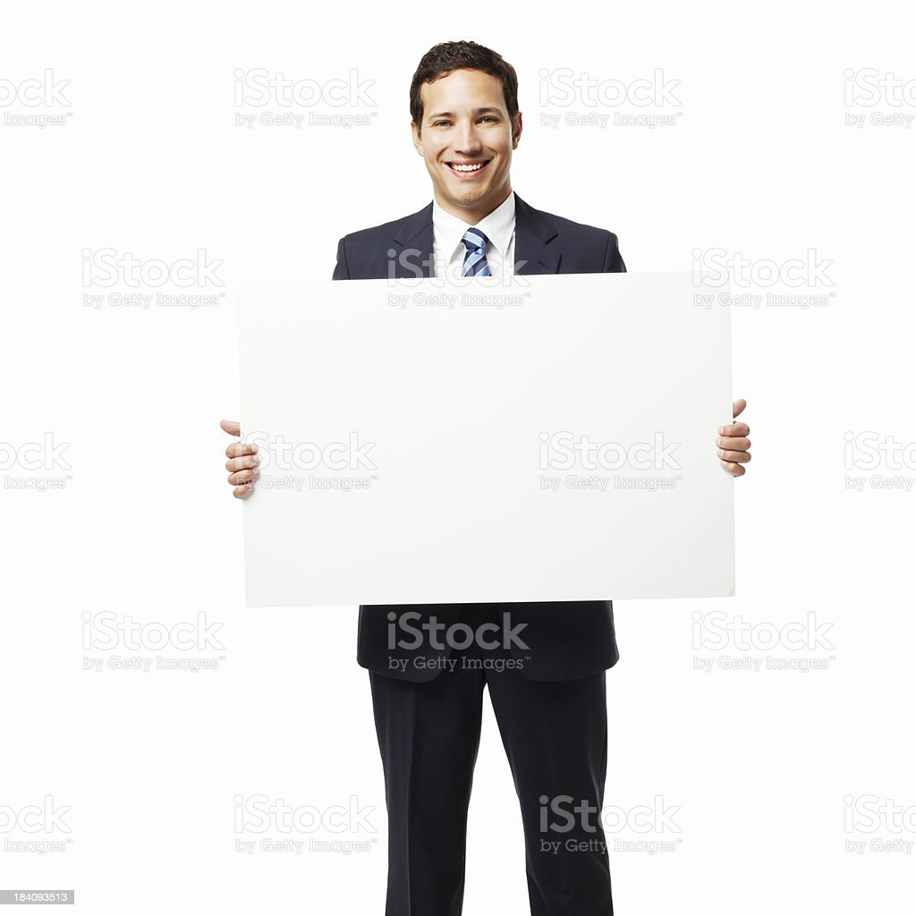 Businessman Holding Up a Sign - Isolated royalty-free stock photo