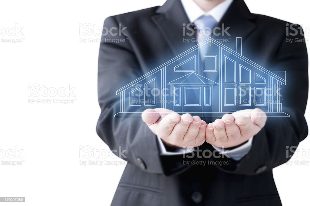 Businessman  Holding Virtual  House royalty-free stock photo