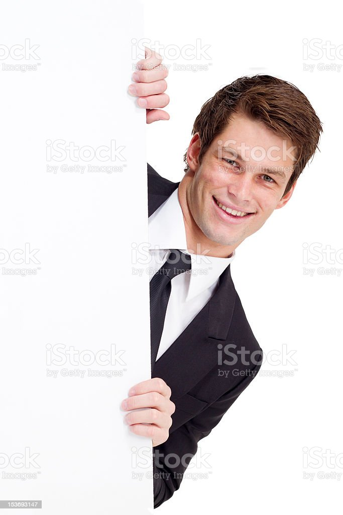 businessman holding white board royalty-free stock photo