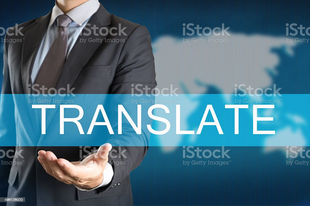 Businessman holding with TRANSLATE WORD stock photo