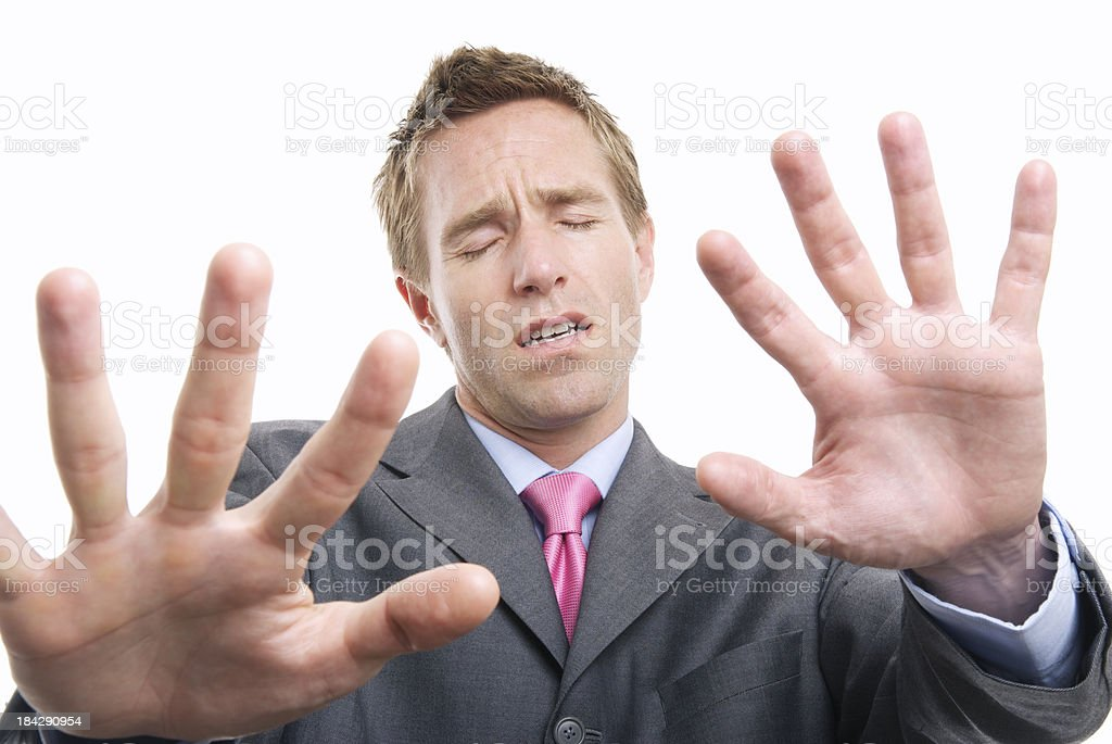 Businessman Holds Out Hands Feeling His Way royalty-free stock photo